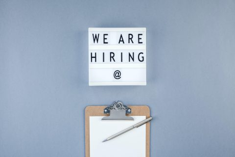 We are hiring flat lay on blue background
